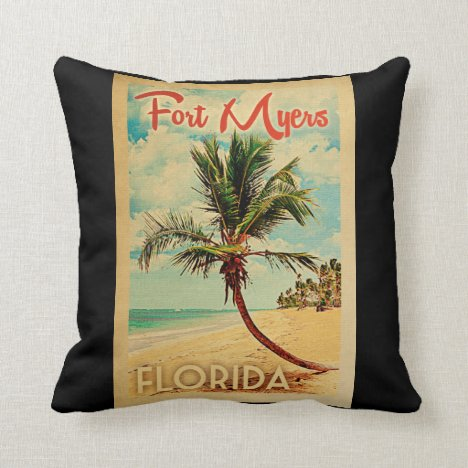 Fort Myers Florida Palm Tree Beach Vintage Travel Throw Pillow