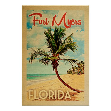 Fort Myers Florida Vintage Palm Tree Beach Poster