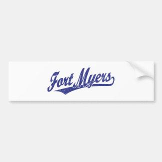 Fort Myers script logo in blue  distressed Bumper Sticker