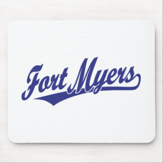Fort Myers script logo in blue Mousepads