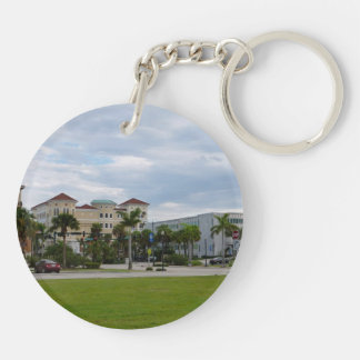 fort pierce downtown south view Double-Sided round acrylic keychain