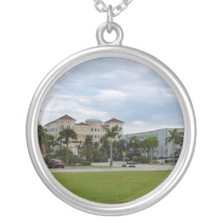 fort pierce downtown south view silver plated necklace