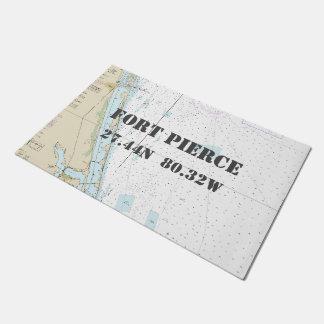 Fort Pierce FL Latitude Longitude Nautical Boating Doormat