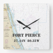 Fort Pierce FL Latitude & Longitude Nautical Chart Square Wall Clock