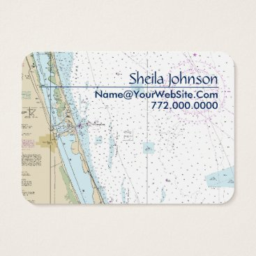 Beach Themed Fort Pierce FL Nautical Chart Clean Fresh Blue Tan Business Card