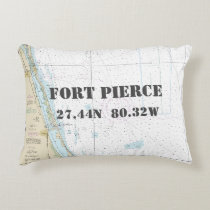 Fort Pierce FL Nautical Chart Latitude Longitude Decorative Pillow