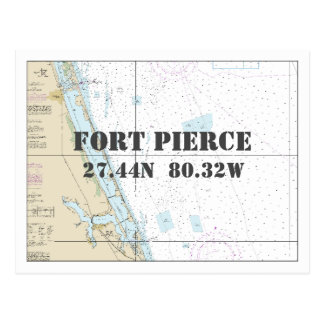 Fort Pierce FL Nautical Chart Latitude Longitude Postcard