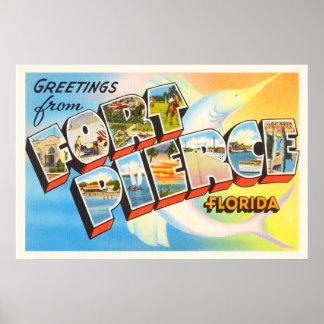 Fort Pierce Florida FL Old Vintage Travel Souvenir Poster