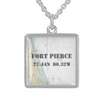 Fort Pierce Florida Latitude Longitude Nautical Sterling Silver Necklace