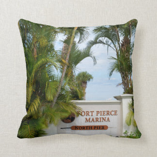 fort pierce marina sign florida scene tourist throw pillow