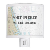 "Fort Pierce Nautical Chart ""Home Town"" Coordinates Night Light"