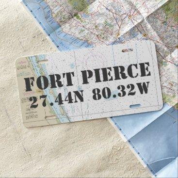 USA Themed Fort Pierce Nautical Latitude Longitude License Plate