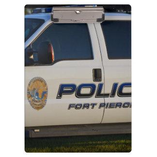 fort pierce police department pickup truck closeup clipboard