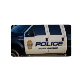 fort pierce police department pickup truck closeup custom address labels