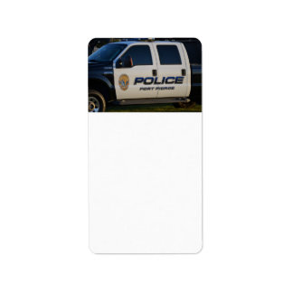 fort pierce police department pickup truck closeup custom address label