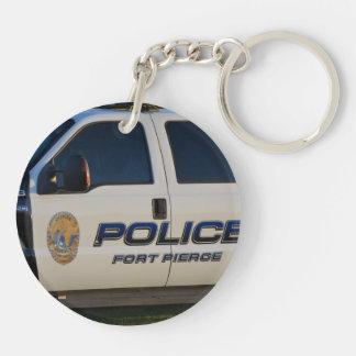 fort pierce police department pickup truck closeup acrylic keychain