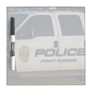 fort pierce police department pickup truck closeup dry erase whiteboard