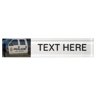 fort pierce police department pickup truck closeup desk name plate