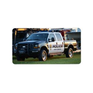 fort pierce police department pickup truck address label