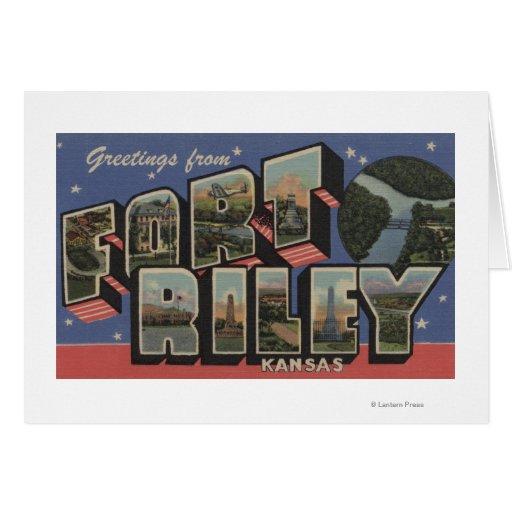 Fort Riley, Kansas - Large Letter Scenes Card