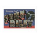 Fort Riley, Kansas - Large Letter Scenes Post Card