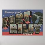 Fort Riley, Kansas - Large Letter Scenes Poster