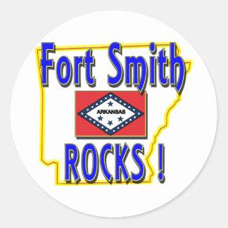 Fort Smith Rocks ! (blue) Classic Round Sticker