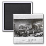 Fort Sumter, Interior View of Three Gun Battery 2 Inch Square Magnet