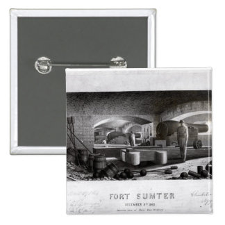 Fort Sumter, Interior View of Three Gun Battery Button