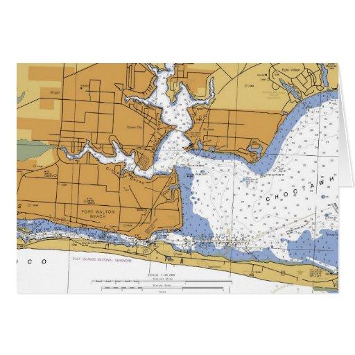 Fort Walton Beach, FL Nautical Chart Greeting Card