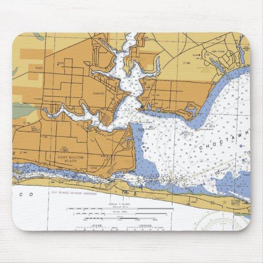Fort Walton Beach, FL Nautical Chart Mouse Pad