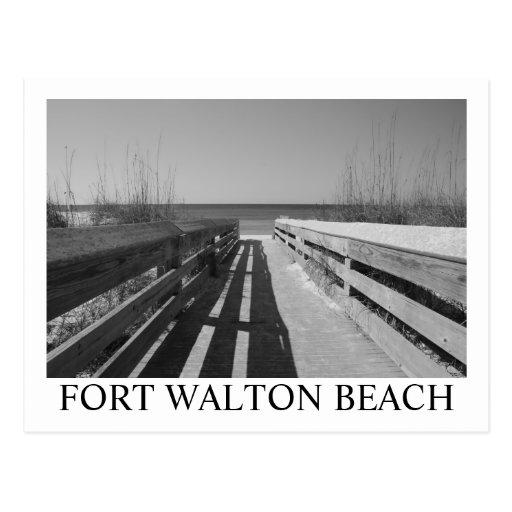 FORT WALTON BEACH, NEGRO DE FL/BLANCO TARJETA POSTAL