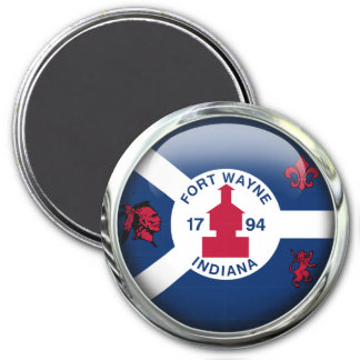 Fort Wayne Flag Glass Ball Magnet