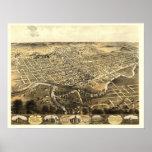 Fort Wayne, IN Panoramic Map - 1868 Posters