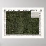 Fort Wayne, IN Panoramic Map - 1907 Poster
