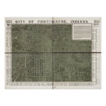 Fort Wayne Indiana 1907 Antique Panoramic Map Posters
