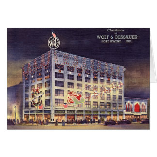 Fort Wayne Indiana Department Store at Christmas Greeting Card