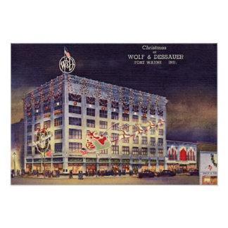 Fort Wayne Indiana Department Store at Christmas Poster