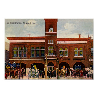 Fort Wayne, Indiana Fire Station 3 1915 Poster