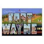 Fort Wayne Indiana Large Letter Greetings Posters