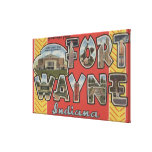 Fort Wayne, Indiana - Large Letter Scenes Stretched Canvas Prints
