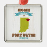 Fort Wayne, Indiana Map – Home Is Where The Heart Square Metal Christmas Ornament