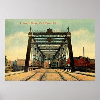 Fort Wayne, Indiana St Marys Bridge 1910 Poster
