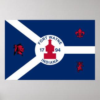 Fort Wayne, Indiana, United States flag Poster
