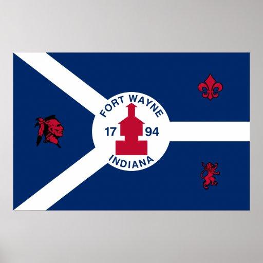 Fort wayne indiana united states flag poster zazzle for Custom t shirts fort wayne