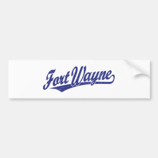 Fort Wayne script logo in blue distressed Bumper Stickers