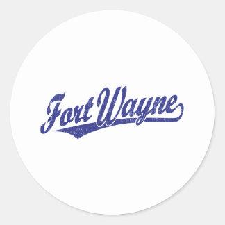 Fort Wayne script logo in blue distressed Stickers