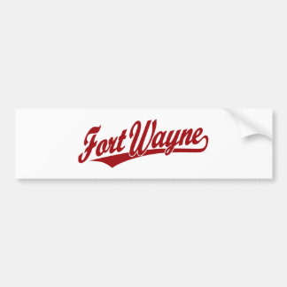 Fort Wayne script logo in red Bumper Sticker