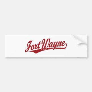 Fort Wayne script logo in red distressed Bumper Sticker