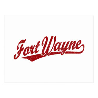 Fort Wayne script logo in red distressed Postcard